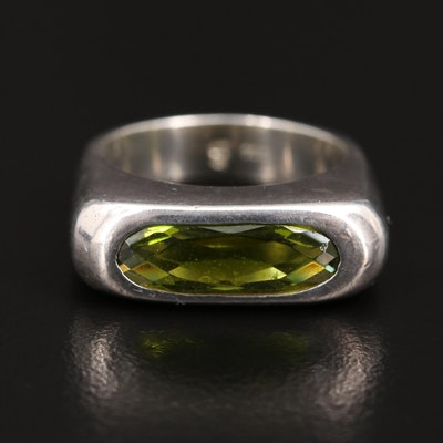 Sterling Silver Green Glass Ring