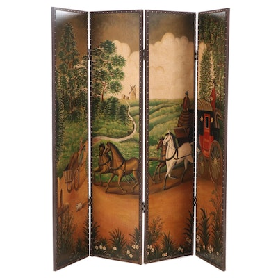 Four Panel Room Divider Screen with Coaching Scene, Mid - Late 20th Century