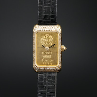Corum 18K and Diamond Quartz Wristwatch with Five Gram Fine Gold Ingot Dial