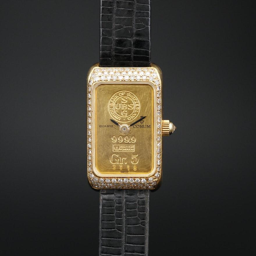Corum 18K and Diamond Quartz Wristwatch with Five Gram Fine Gold Ingot Dial
