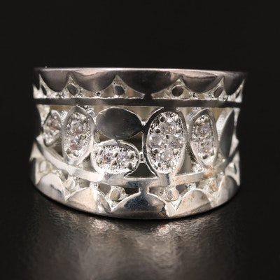 Sterling Silver Cubic Zirconia Openwork Band