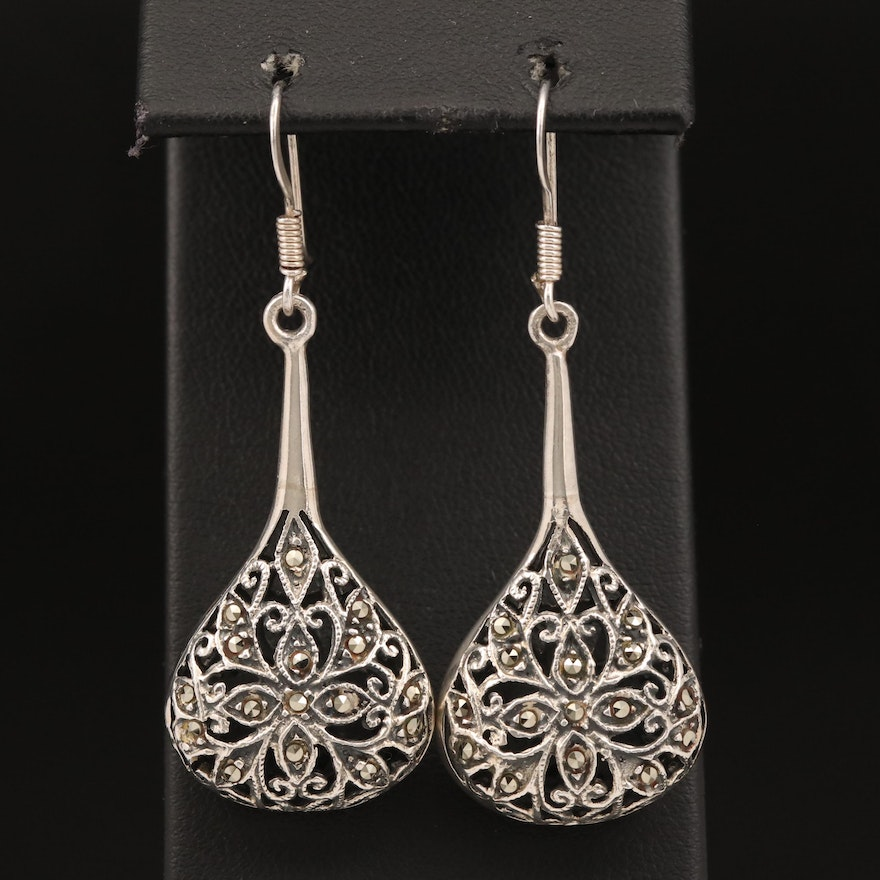 Sterling Silver Marcasite Drop Earrings with Openwork Design