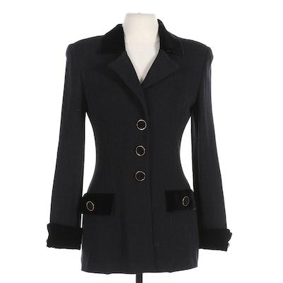 St. John Collection Black Knit Jacket with Velvet Trim