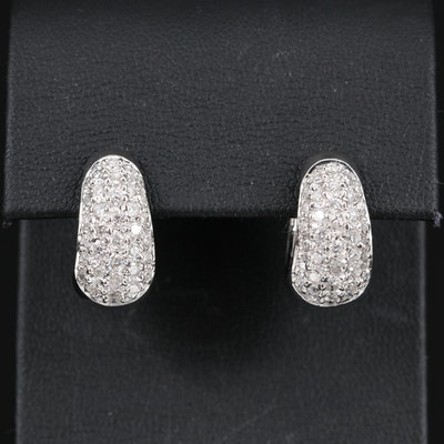 14K 1.50 CTW Diamond Hoop Earrings