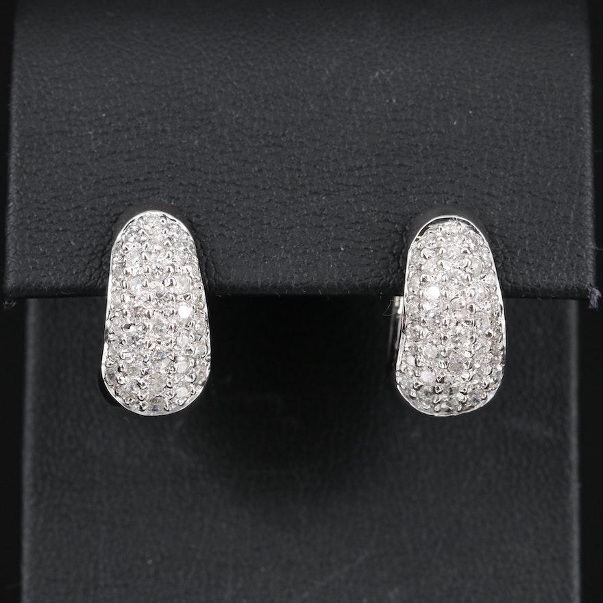 14K 1.50 CTW Diamond Hoop Earrings