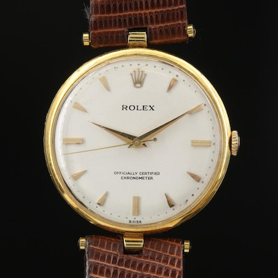 1971 Rolex Precision 18K Yellow Gold Stem Wind Wristwatch