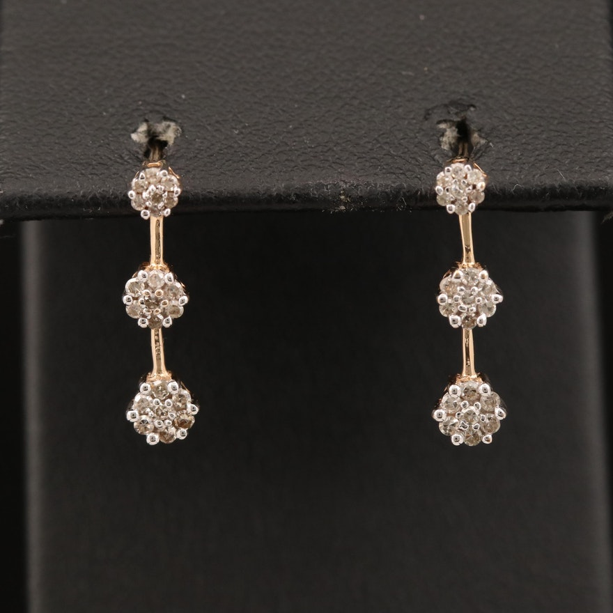 10K Diamond Drop Earrings
