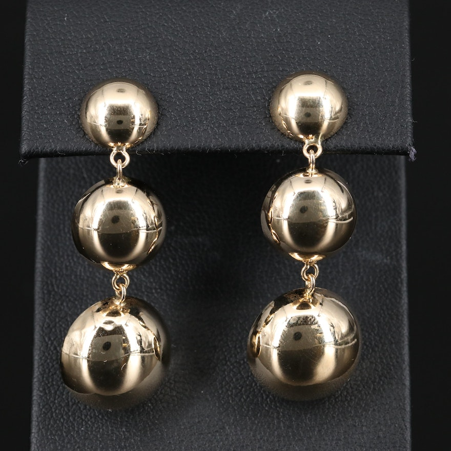 14K Graduated Concentric Dangle Earrings