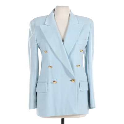 Escada Wool and Cashmere Blend Double-Breasted Jacket in Light Blue