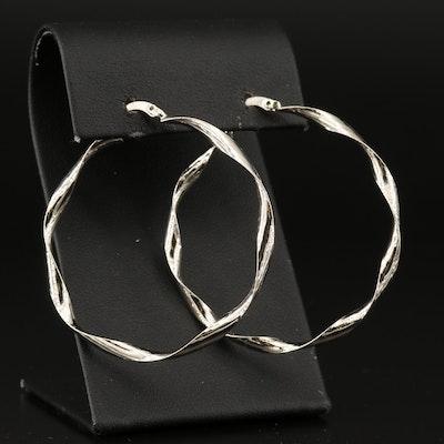 Twisted Ribbon Large Hoop Earrings