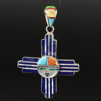 Sterling Sunface Cross Pendant with Opal, Spiny Oyster and Mother of Pearl