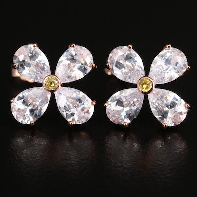 Sterling Silver Cubic Zirconia Flower Earrings