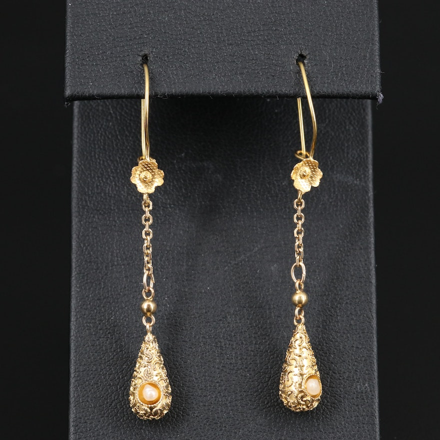 14K Seed Pearl Dangle Earrings