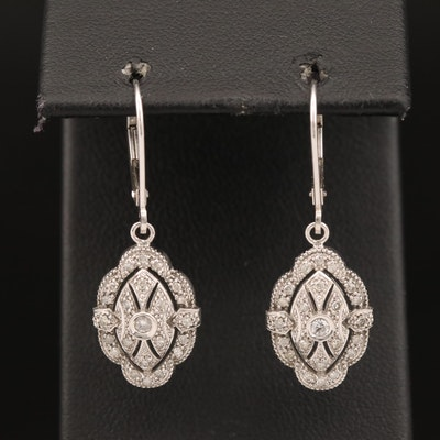 14K Diamond Dangle Earrings with Milgrain Pattern