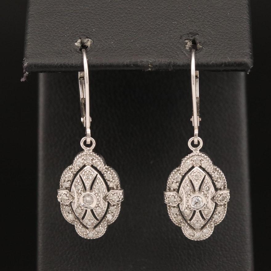 14K Diamond Dangle Earrings with Milgrain Pattern