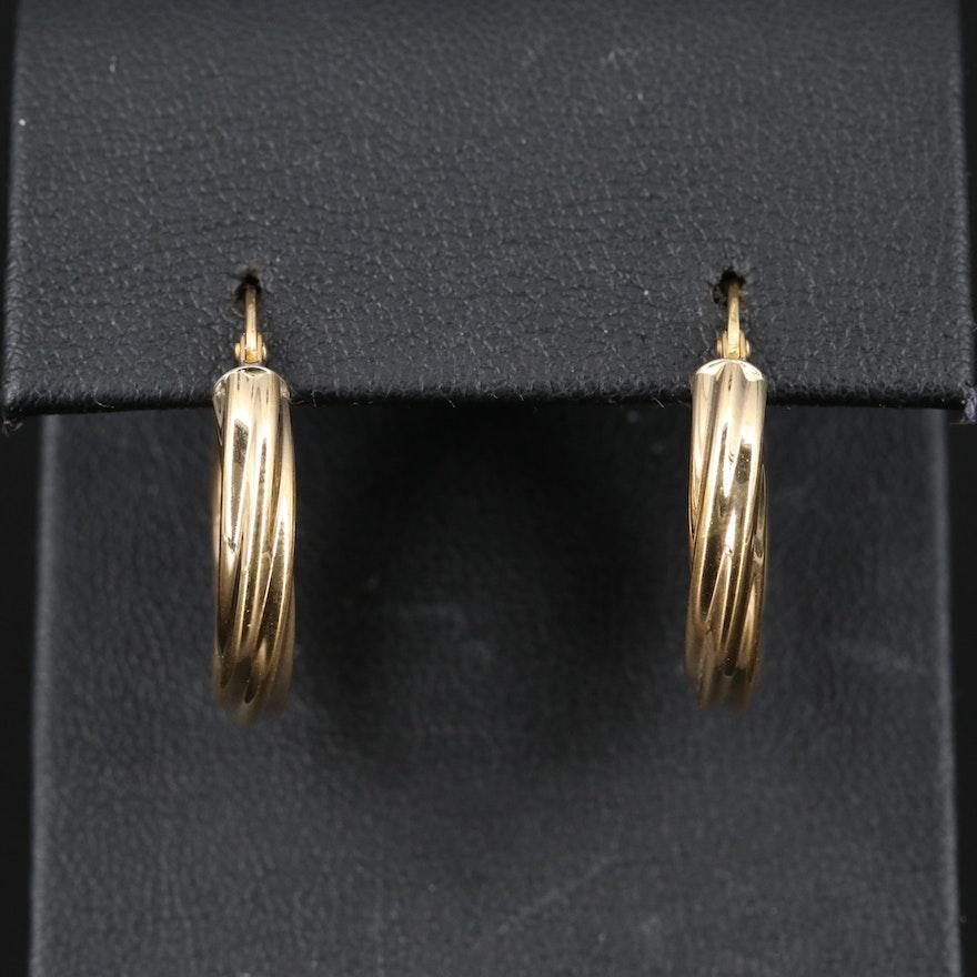 18K Twisted Hoop Earrings