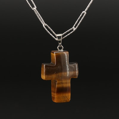 Tiger's Eye Cross Pendant on Sterling Paperclip Link Chain