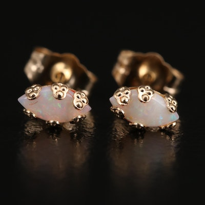 14K Opal Stud Earrings