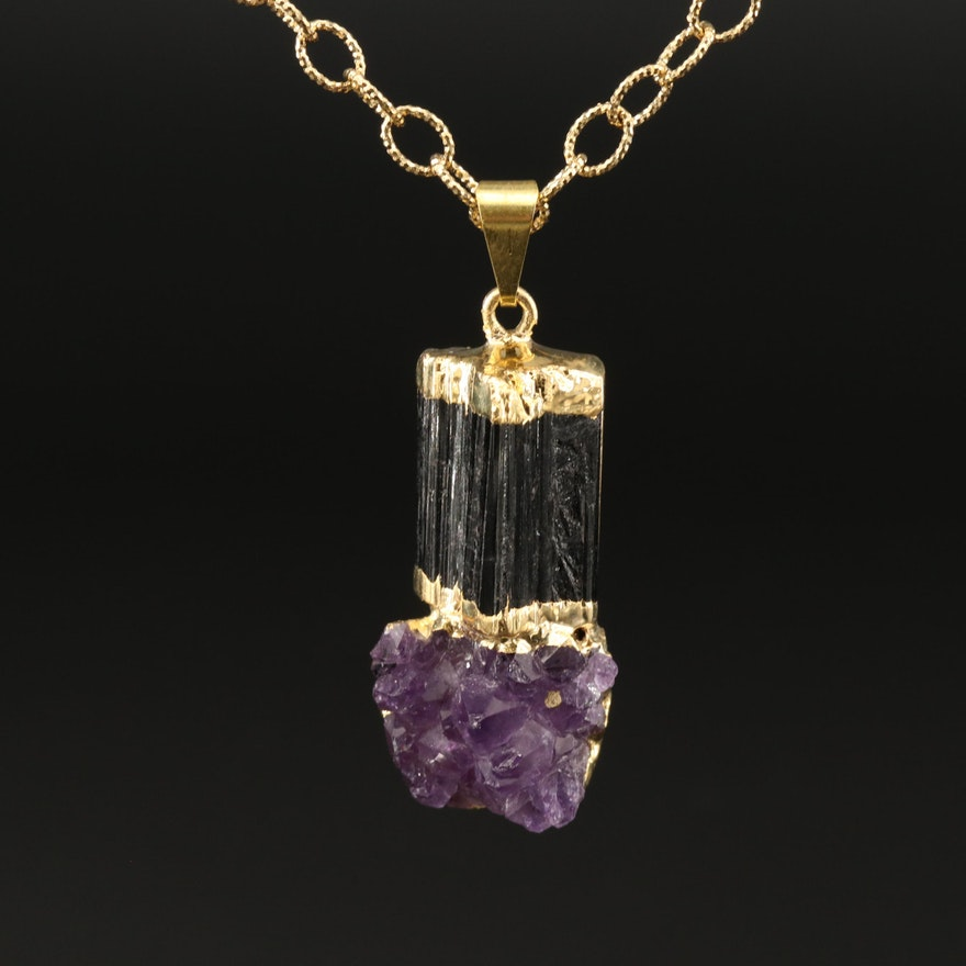 Tourmaline and Amethyst Pendant on Sterling Cable Link Chain