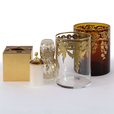 Gilt Accented Hurricane Lanterns and Bath Accessories, Contemporary