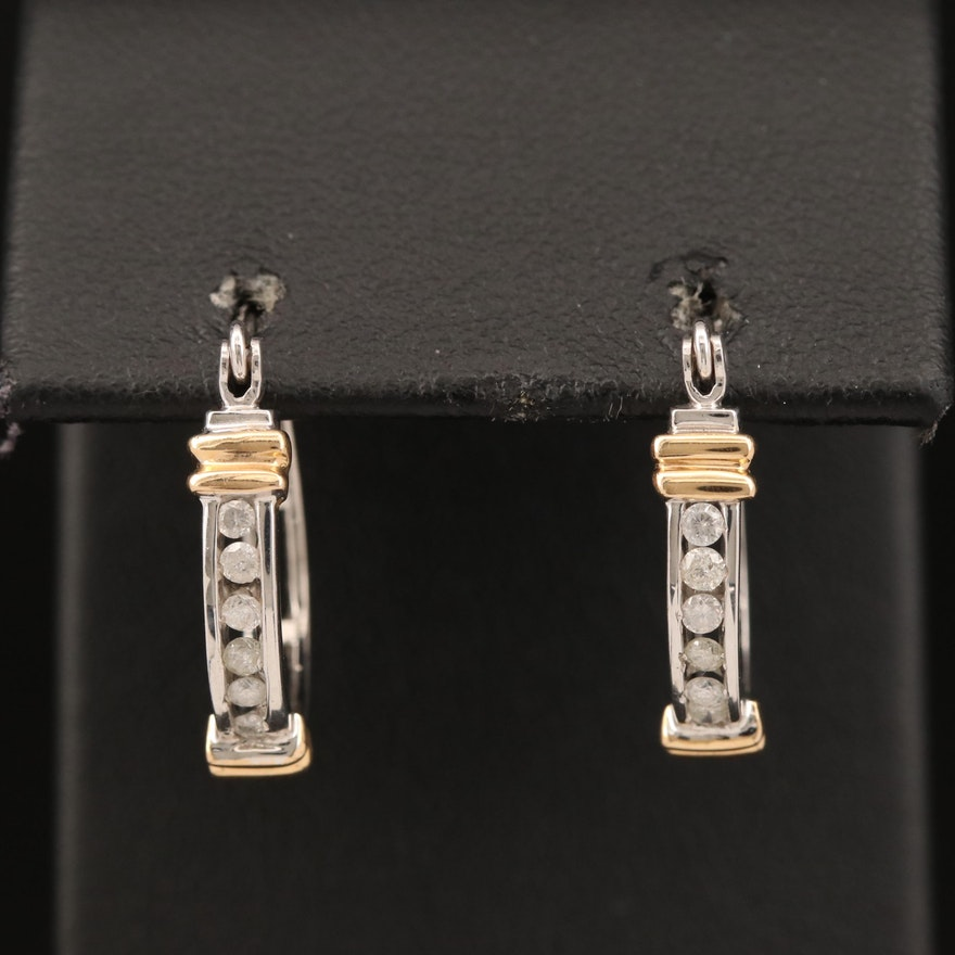 14K Diamond Channel Hoop Earrings