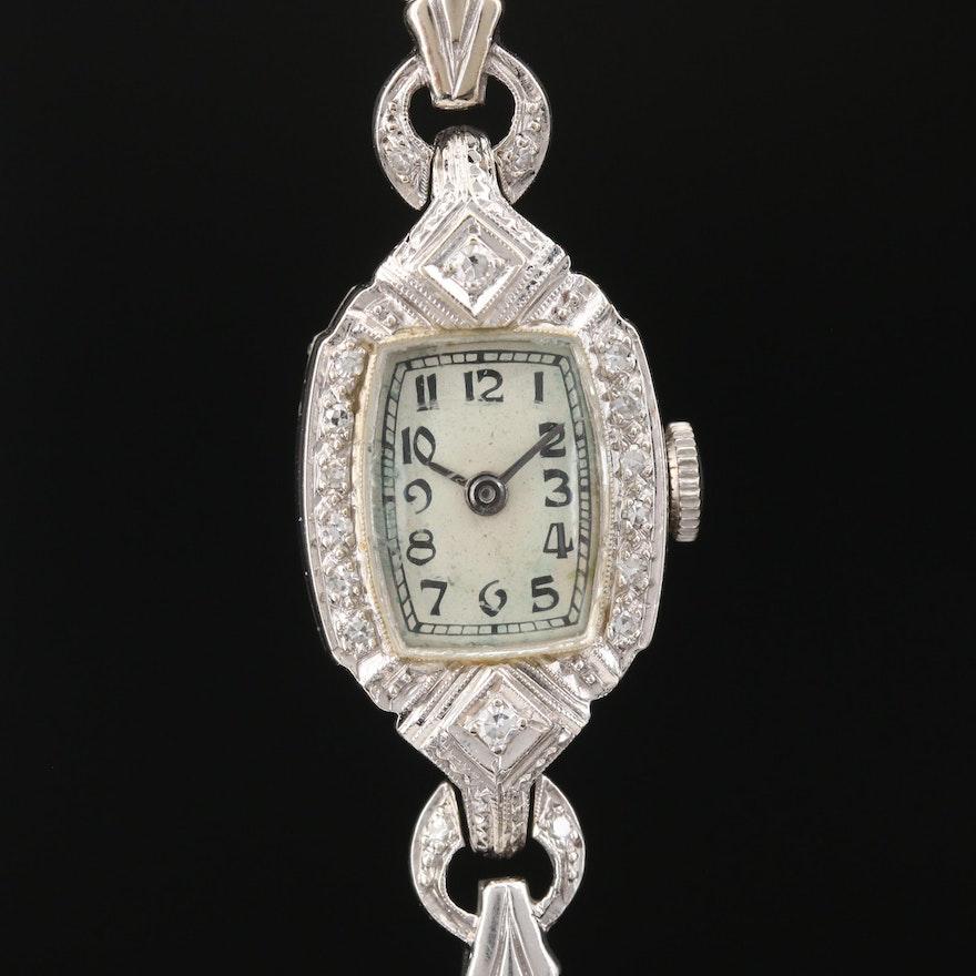 Vintage Eska 1.12 CTW Diamond and 14K White Gold Stem Wind Wristwatch