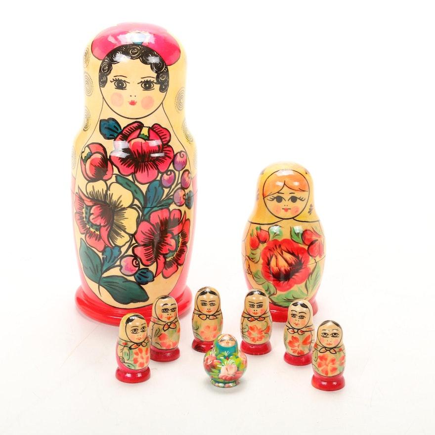 Russian Hand-Painted Matryoshka Nesting Dolls, Late 20th Century
