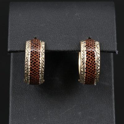 14K Enamel Animal Print Motif Hoop Earrings