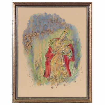 "Reuven Rubin Lithograph ""King David with His Harp,"" Mid-20th Century"