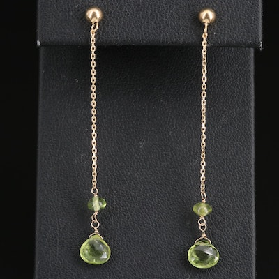 14K Peridot Drop Earrings