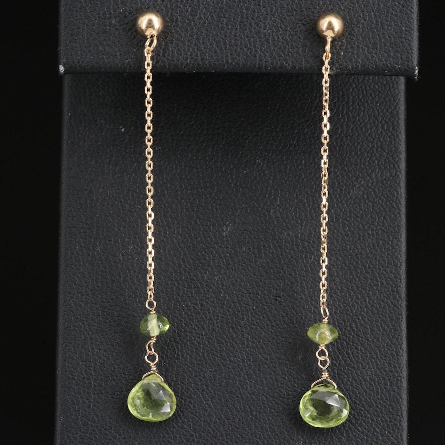 14K Peridot Drop Earrings