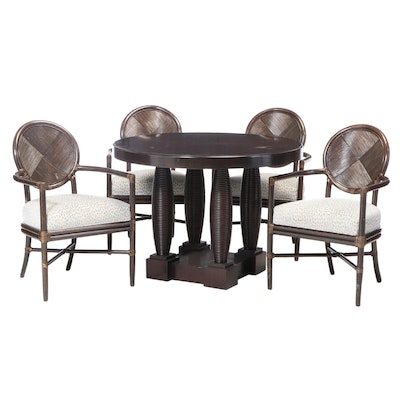 Set of Four McGuire Rattan Arm Chairs with Mahogany Table, 21st Century