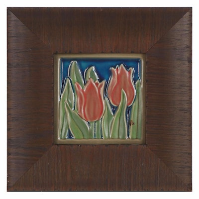 "Rookwood Pottery Glazed Ceramic Tile ""Ashbee Flora,"" 20th Century"
