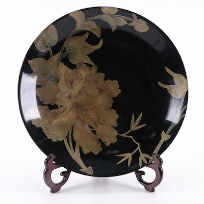 Chinese Style Floral Decorative Charger on Wood Stand