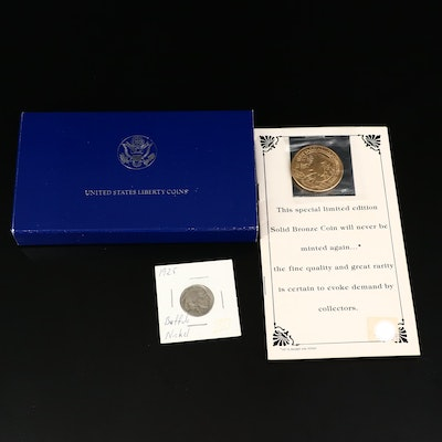 1986 Silver Liberty Dollar and Bronze Smokey Mountains Medal