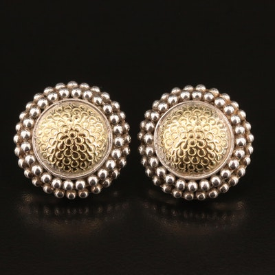 John Hardy 18K and Sterling Silver Domed Disk Earrings with Beaded Edges