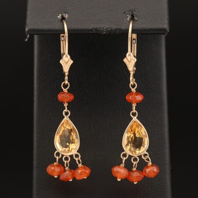 14K Citrine and Fire Opal Dangle Earrings