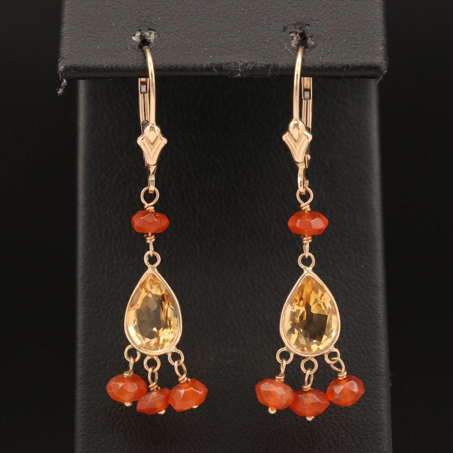 14K Citrine and Fire Opal Dangle Earrings