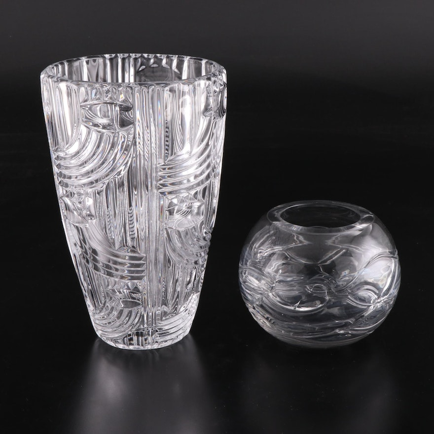 Czech Mold Blown and Cut Crystal and Glass Vases