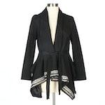 Fendi Embellished Swing Jacket in Black with Tie Sash
