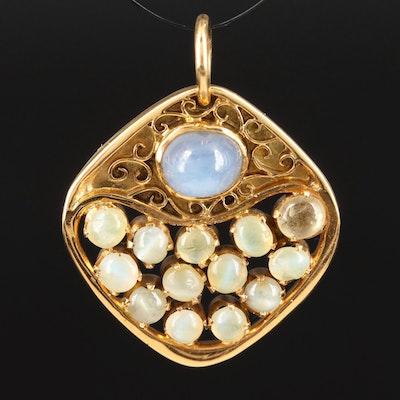 14K Star Sapphire and Chrysoberyl Cat's Eye Cluster Pendant
