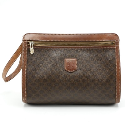 Celine Macadam Coated Canvas Clutch with Smooth Leather Trim