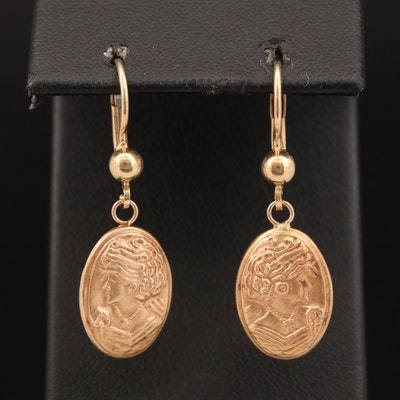 14K Two-Tone Cameo Dangle Earrings