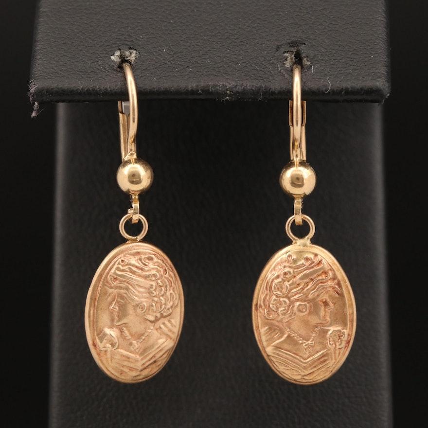 14K Two-Tone Cameo Dangle Earrings