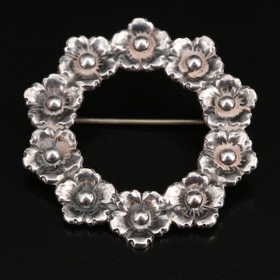 Vintage Niels Erik From Sterling Floral Circle Brooch