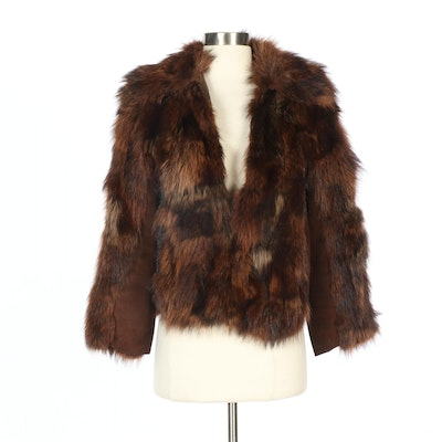 Dyed Raccoon Fur and Brown Suede Jacket