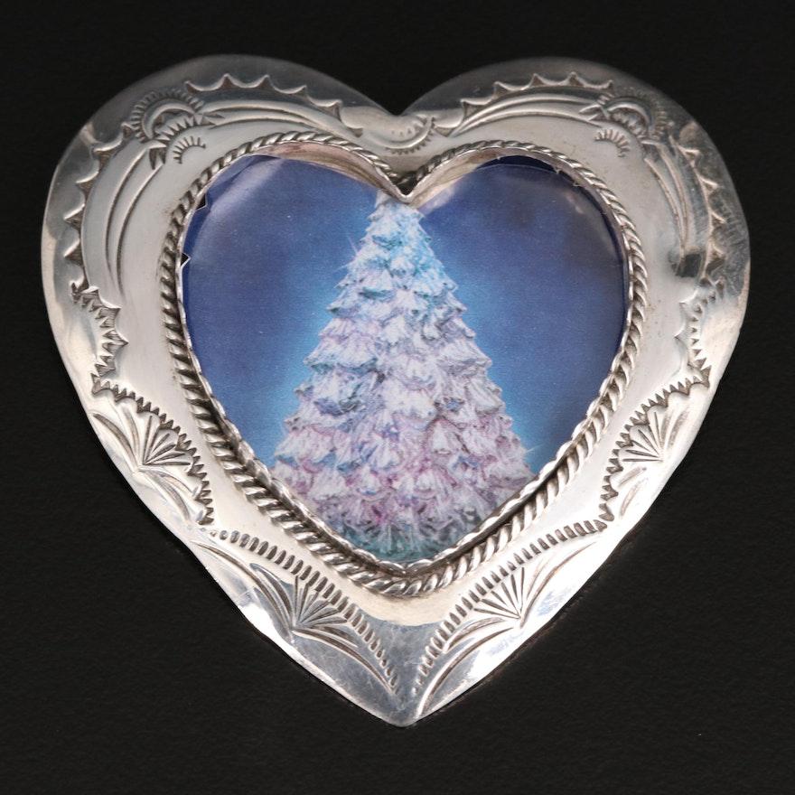 Joan Slifka Sterling Stampwork Heart Picture Frame Converter Brooch