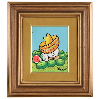 Xavier Cugat Oil Painting of Figure with Watermelons, Mid 20th Century