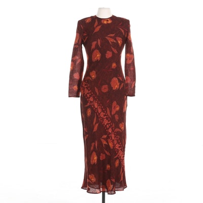 Kay Unger New York Floral Print Long Sleeved Dress with Keyhole Back