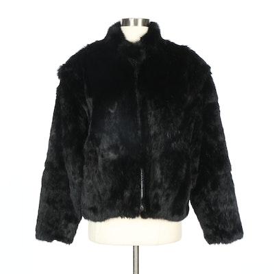Mademoiselle Rabbit Fur Zip-Front Jacket